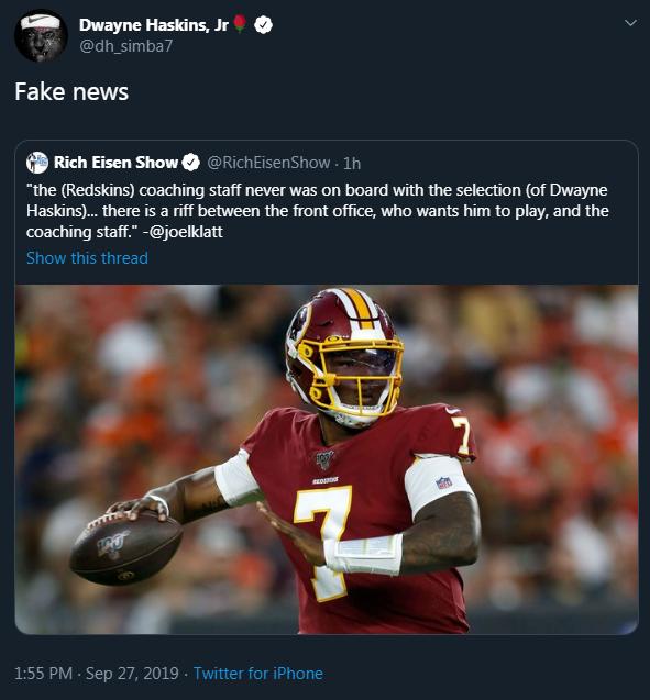 Dwayne Haskins calls riff reports 'fake news'