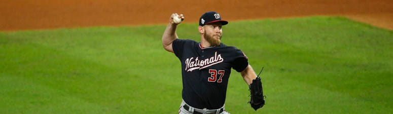 Stephen Strasburg delivers the pitch against the Houston Astros in the World Series.
