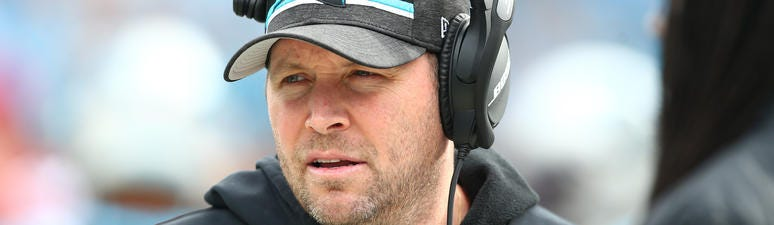 Carolina Panthers offensive coordinator Scott Turner stands on the sidelines.