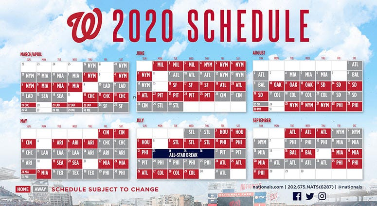 Cubs Schedule 2020 Printable.Nationals 2020 Regular Season Schedule 106 7 The Fan