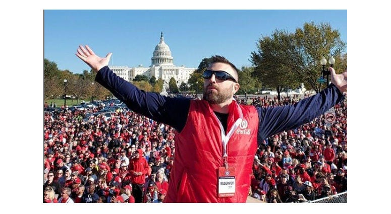 """Grant Paulsen and Danny Rouhier of the """"Grant & Danny Show"""" take part in the Washington Nationals victory parade in Washington, D.C. on Saturday, November 1."""