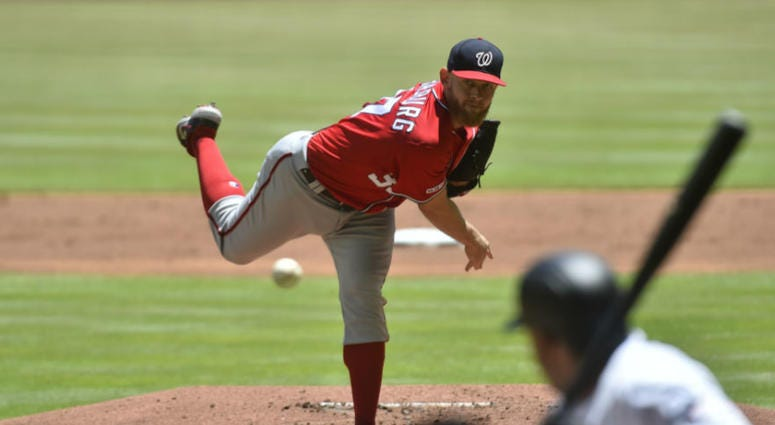Nationals pitcher Stephen Strasburg becomes fastest pitcher to 1500 strikeouts.