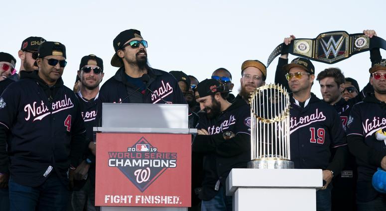 Anthony Rendon speaks at the Washington Nationals World Series parade.