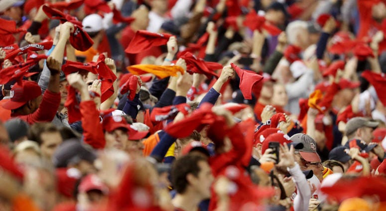 Fans cheer prior to Game Four of the 2019 World Series between the Houston Astros and the Nationals at Nats Park.