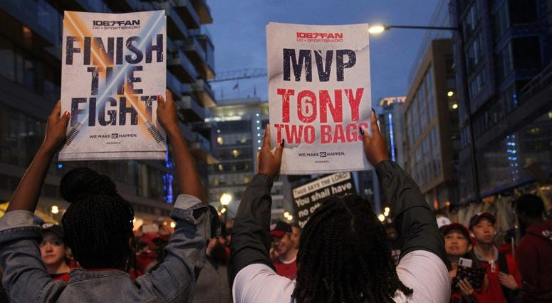 """""""Finish The Fight"""" fight cards were handed out before Game 4 at Nationals Park on Saturday, October 26."""