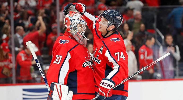 John Carlson celebrates a win with rookie goaltender Ilya Samsonov