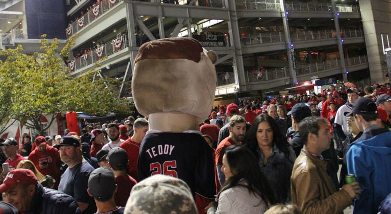 One of the Racing President's walking the concourse at Nationals Park during Game 4 of the World Series.