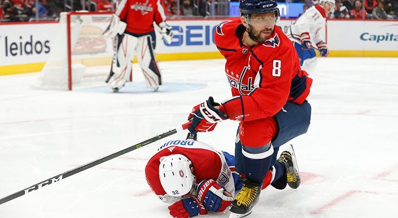 Ovechkin levels Jonathan Drouin with 'textbook hit'