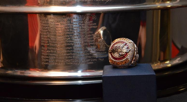 The Capitals' championship ring sits in front of a Stanley Cup backdrop