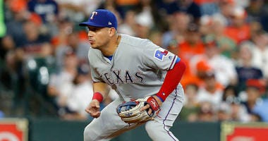 Asdrubal Cabrera playing for the Texas Rangers