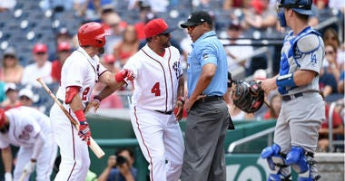 Nationals manager Dave Martinez and Adam Eaton ejected in 1st inning vs. Dodgers.