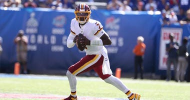 Dwayne Haskins #7 of the Washington Redskins in action against the New York Giants during their game at MetLife Stadium on September 29, 2019.