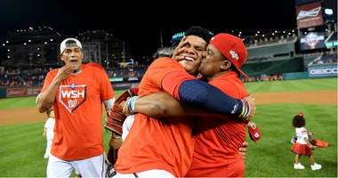 Juan Soto's parents celebrate Nationals at World Series