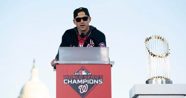 Ryan Zimmerman of the Washington Nationals speaks during a parade to celebrate the World Series win.