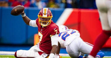Redskins QB Dwayne Haskins is sacked on 3rd down by Bills' Tre'Davious White.