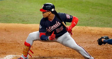 Nationals' Juan Soto at bat against the Houston Astros during the fifth inning in Game Two of the 2019 World Series.