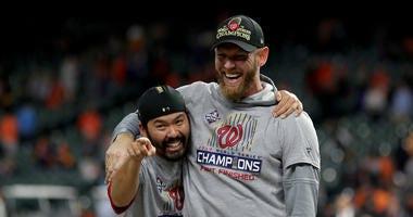 Nationals pitcher Stephen Strasburg celebrates winning the World Series.