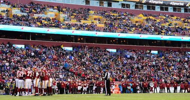 Washington Redskins huddle in the second half during a game against the New York Giants at FedExField.