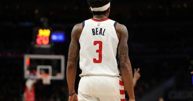 Bradley Beal #3 of the Washington Wizards in action against the Detroit Pistons at Capital One Arena on January 20, 2020.