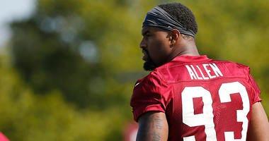 Jonathan Allen, Jordan Reed miss Redskins practice