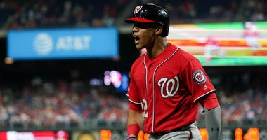 Juan Soto reacts after hitting a home run against the Phillies.