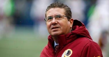 Washington Redskins owner Daniel Snyder watches pregame warmups against the Seattle Seahawks.