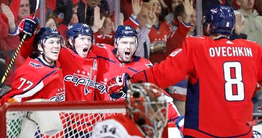 Alex Ovechkin celebrates scoring in the Stanley Cup Playoffs.