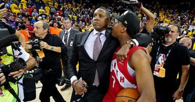 Raptors president Masai Ujiri is being accused of pushing, hitting sheriff's deputy at NBA Finals.