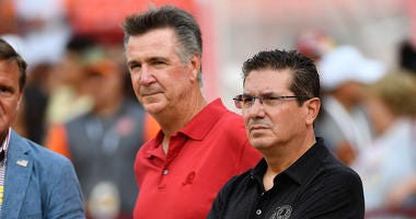 Redskins Redskins president Bruce Allen team owner Daniel Snyder on the field before a game.