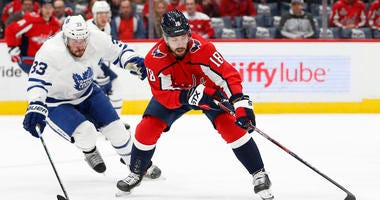 Washington Capitals center Chandler Stephenson against the Toronto Maple Leafs