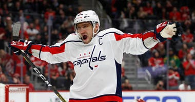Washington Capitals forward Alex Ovechkin celebrates after a Tom Wilson scored a goal.