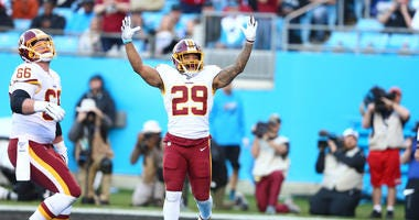 Washington Redskins running back Derrius Guice celebrates a touchdown vs. the Panthers.
