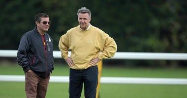 Washington Redskins owner Daniel Snyder and president Bruce Allen at practice.
