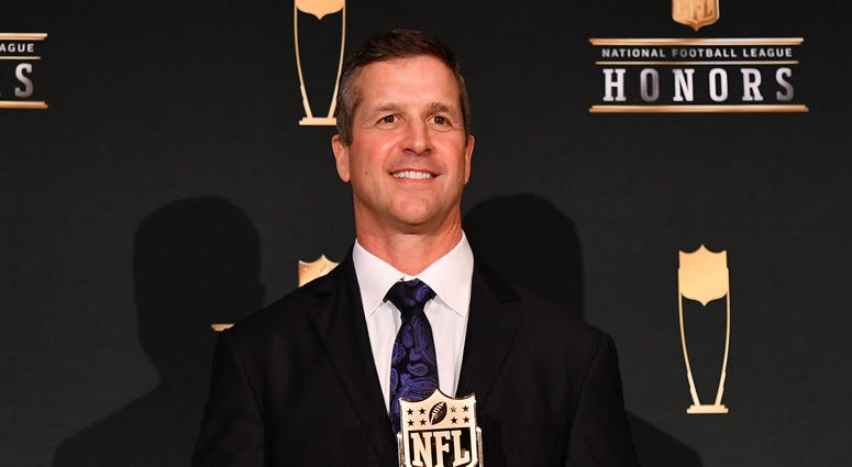 Head coach John Harbaugh honored with AP Coach of the Year award.