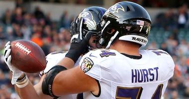 Offensive guard James Hurst celebrates with Mark Andrews in Cincinnati