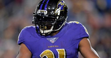 Mark Ingram scored two TDs in Ravens 45-6 victory