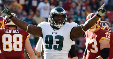 Defensive Tackle Timmy Jernigan celebrates after recording a tackle
