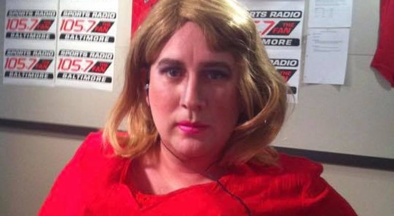 Jeremy Conn dressed in drag after losing a bet