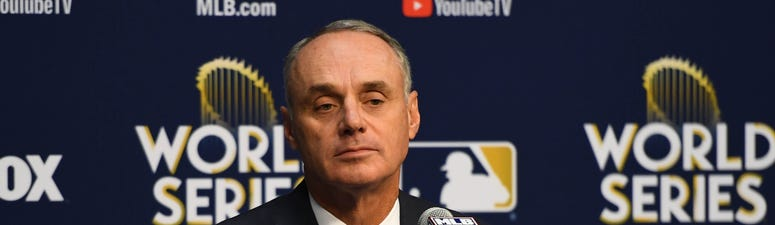 Rob Manfred fields questions before game four of the 2017 World Series