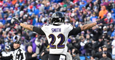 Jimmy Smith celebrates a win against the Bills