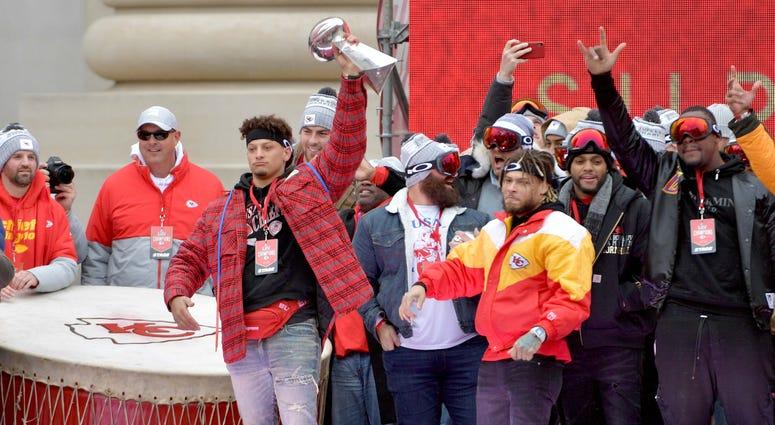 Kansas City Chiefs at super bowl parade