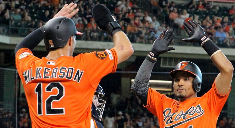 Orioles outfielder Steve Wilkerson celebrates with Richie Martin