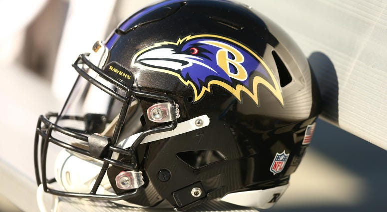 Oct 28, 2018; Charlotte, NC, USA; A Baltimore Ravens helmet lays on the bench in the game against the Carolina Panthers at Bank of America Stadium. Mandatory Credit: Jeremy Brevard