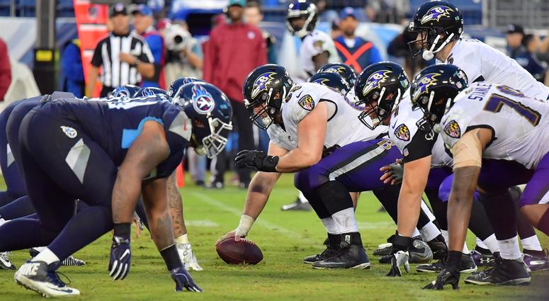 Oct 14, 2018; Nashville, TN, USA; Baltimore Ravens line up against the Tennessee Titans during the second half at Nissan Stadium. Baltimore won 21-0. Mandatory Credit: Jim Brown-USA TODAY Sports