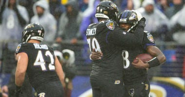 Left Tackle Ronnie Stanley celebrates after a Lamar Jackson TD