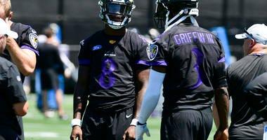 Lamar Jackson and RGIII at Training Camp