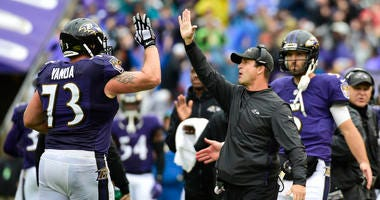 Sep 23, 2018; Baltimore, MD, USA; Baltimore Ravens head coach John Harbaugh high fives guard Marshal Yanda (73) after a touchdown during the second quarter against the Denver Broncos at M&T Bank Stadium. Mandatory Credit: Tommy Gilligan-USA TODAY Sports