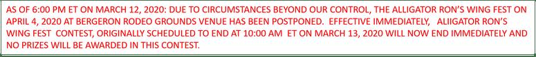 ARWF Postponed