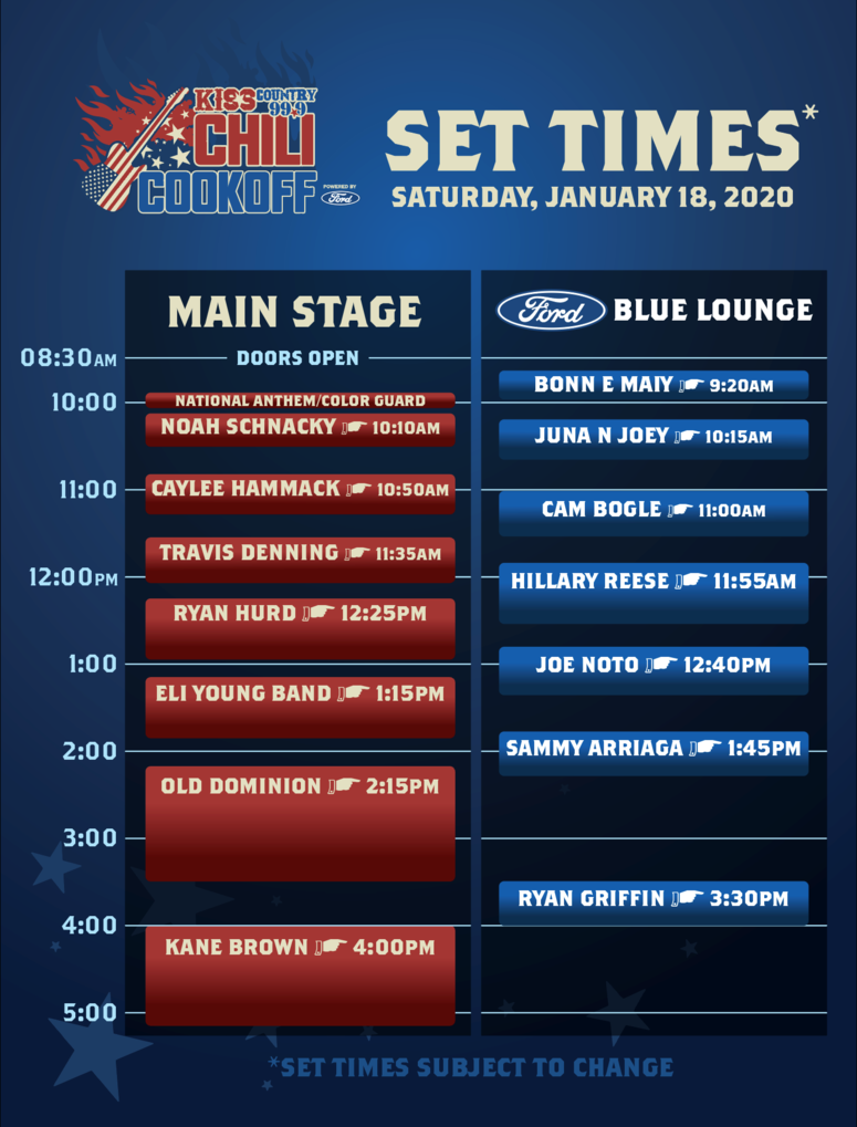 Chili CookOff Set Times