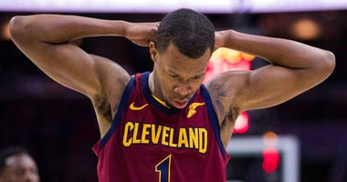 File-This April 6, 2018, file photo shows Cleveland Cavaliers' Rodney Hood reacting during the first half of an NBA basketball game against the Philadelphia 76ers, in Philadelphia